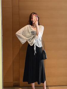 實拍 2019夏新款韓版抽褶長袖防曬衫中長款吊帶裙顯瘦兩件套