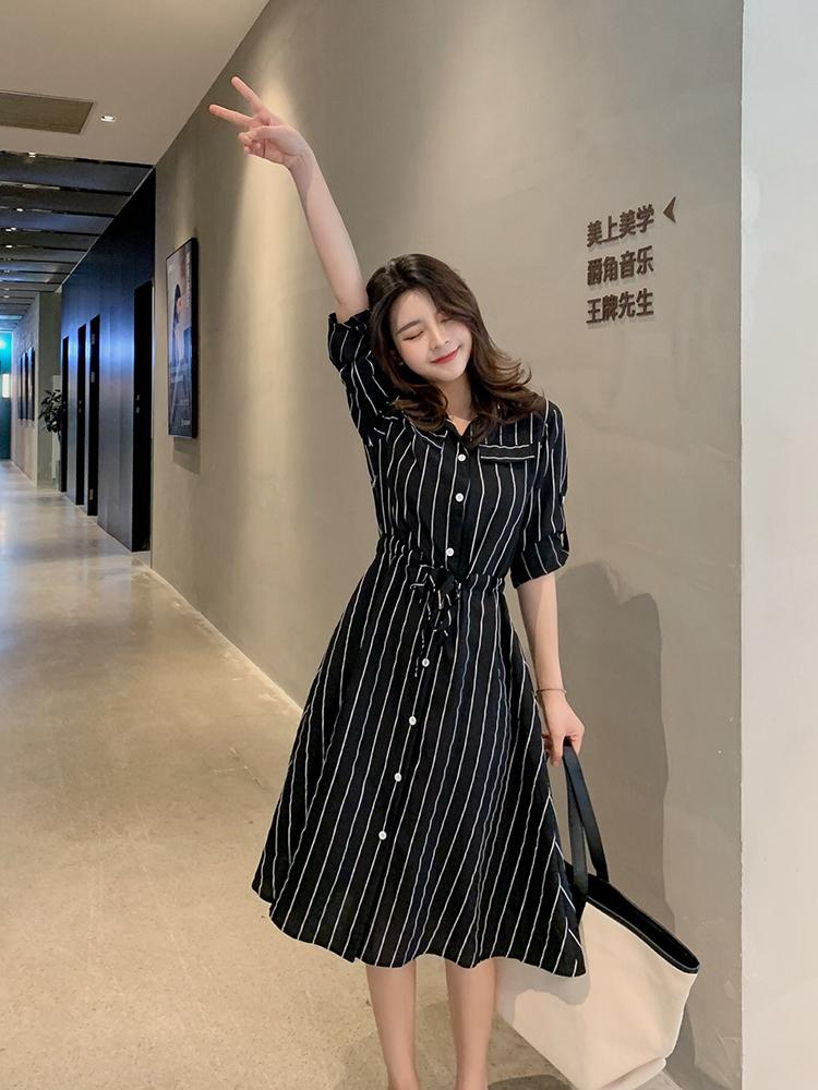 朵维思2019新款韩版夏季修身A字裙条纹衬衫雪纺连衣裙女