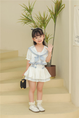 taobao agent 【To Alice】TZC6104 Original Children's Navy Split High Waist Swimsuit Set【Deposit】