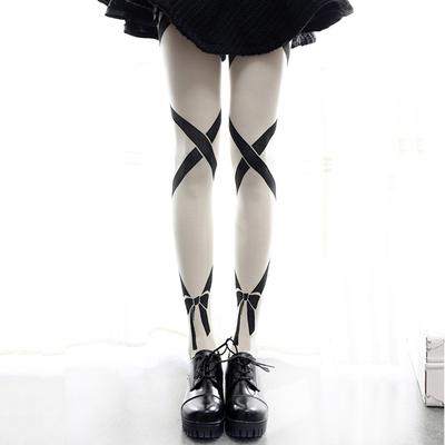 taobao agent Japanese Mori Women Harajuku Striped Bow Lolita Socks Stockings Lolita Lo Niang Pantyhose Base Spring