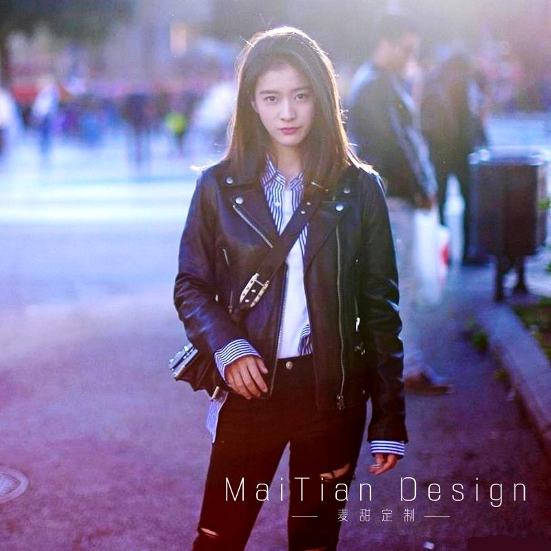 Đầu máy da nhỏ áo khoác nữ phần ngắn ngôi sao Hàn Quốc với cùng một đoạn hoang dã slim jacket 2018 mùa thu và mùa đông mô hình hợp thời trang