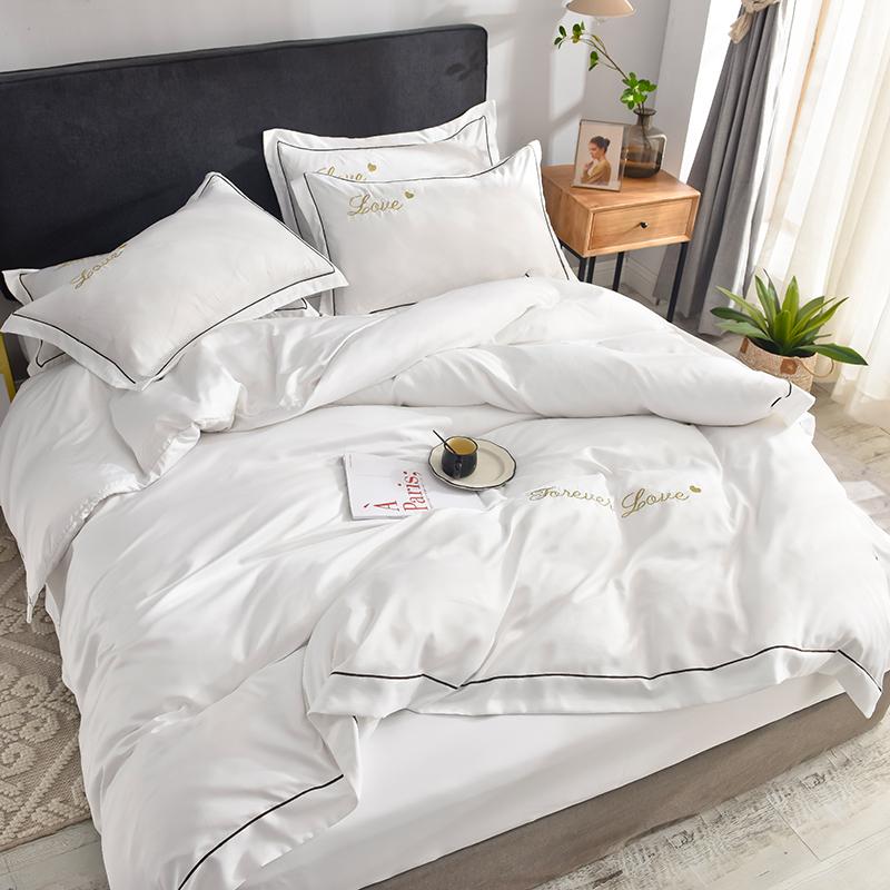 夏季简约水洗真丝四件套1.5m/1.8米纯色刺绣床上用品双人被套床单