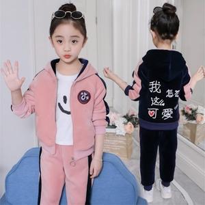抖音同款潮品童装2019秋冬女童加厚金丝绒运动套装儿童洋气两件套