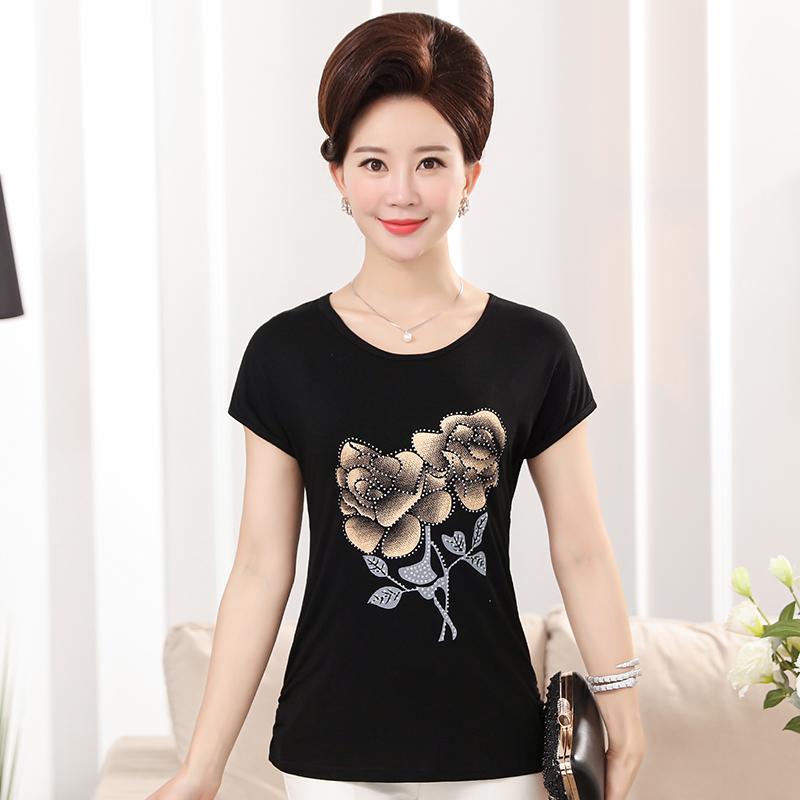Đặc biệt hàng ngày mẹ nạp mùa hè 40-50 tuổi ngắn tay T-Shirt mùa hè áo sơ mi trung niên của phụ nữ in đáy áo