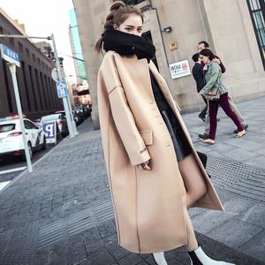 2018秋冬韩版过膝中长款毛呢外套女春秋宽松百搭驼色气质呢子大衣