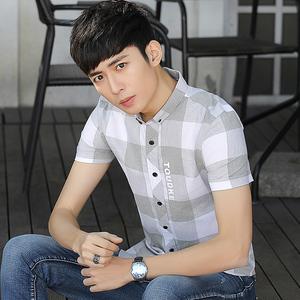 夏季新款格子衬衫男装短袖韩版潮流帅气青年纯棉休闲寸衬衣