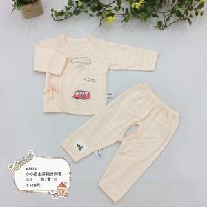 婴儿和尚服薄款婴儿内衣系带开档合同服套装宝宝春夏衣服两件套