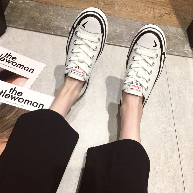 2020 thời trang mới giày vải sinh viên thủy triều thoải mái ren phẳng da giày đế thấp giày nữ bình thường phiên bản Hàn Quốc - Giày cắt thấp