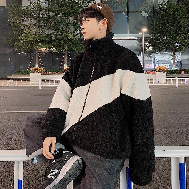 Áo khoác lông cừu nhung mùa đông nam cộng với áo khoác nhung dày Nhật Bản phong cách Hồng Kông Hàn Quốc xu hướng sinh viên áo khoác cotton sang trọng - Trang phục Couple