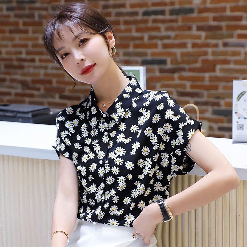 韩版2020夏季新款碎花女士衬衫时尚气质上衣小雏菊短袖女雪纺衫潮