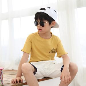 夏季童装2017新款男童t恤不规则短袖圆领韩版中大童纯棉儿童上衣