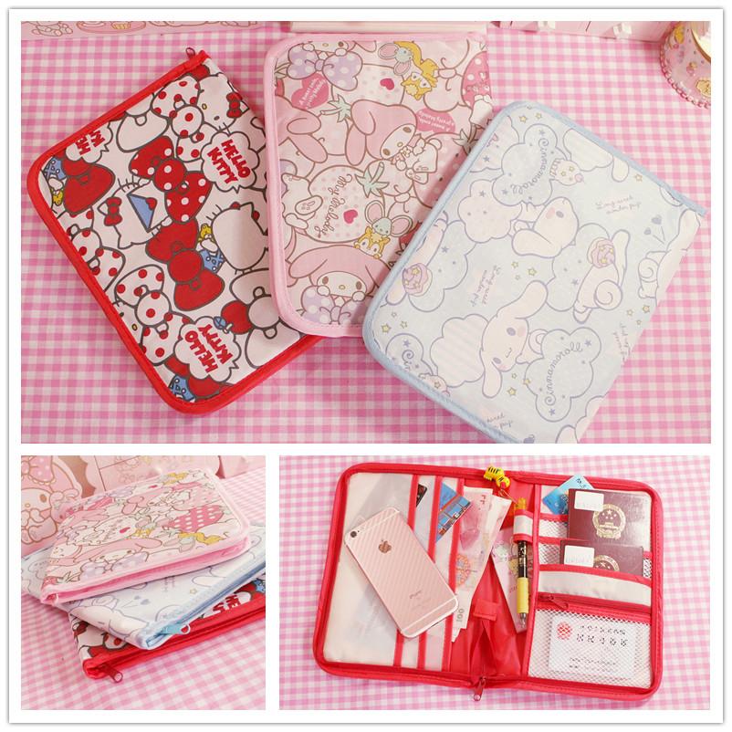 Dễ thương hello kitty hộ chiếu túi đa chức năng túi nhỏ màu hồng giai điệu tài liệu gói lưu trữ túi nữ