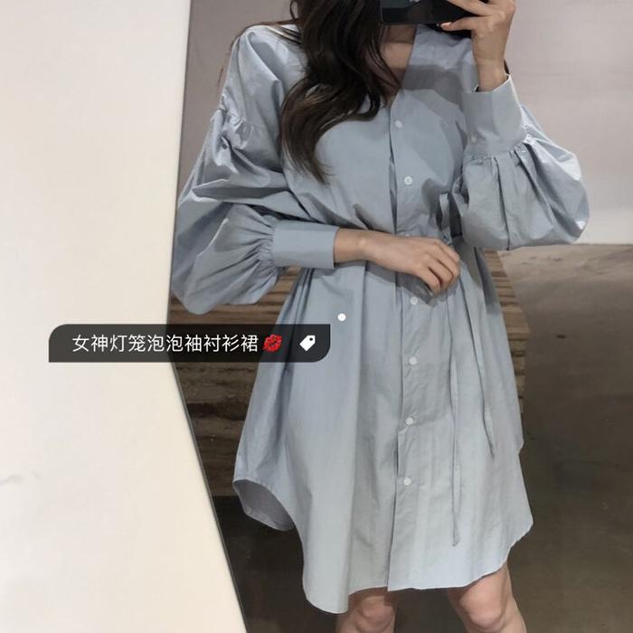 PPSHD! 2018 đầu mùa thu Hàn Quốc khí nữ thần V-Cổ eo cao với đèn lồng phun tay áo đầm