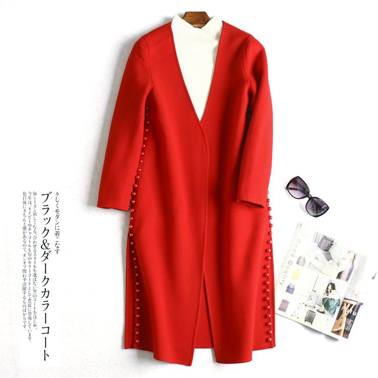 Đôi- phải đối mặt với áo len mỏng mỏng dài hai mặt chia tay- studded ngọc trai màu áo khoác mn70571