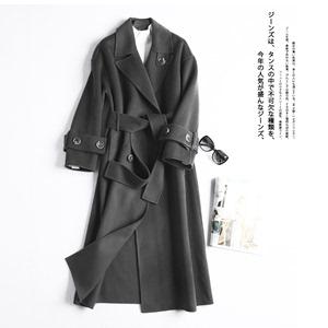 Nặng hit ~ cổ điển áo gió ren phù hợp với cổ áo làm bằng tay hai mặt áo len lông nữ MN87279
