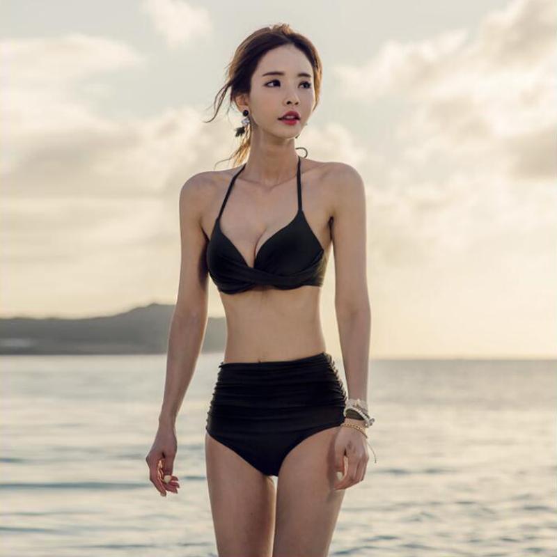 韩国泳衣女高腰遮肚显瘦分体比基尼三件套性感红黑小香风胸游泳衣