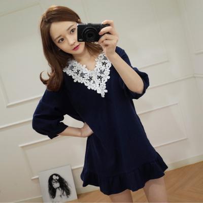 6898#2018新款韩版女装甜美小清新短袖花边连衣裙