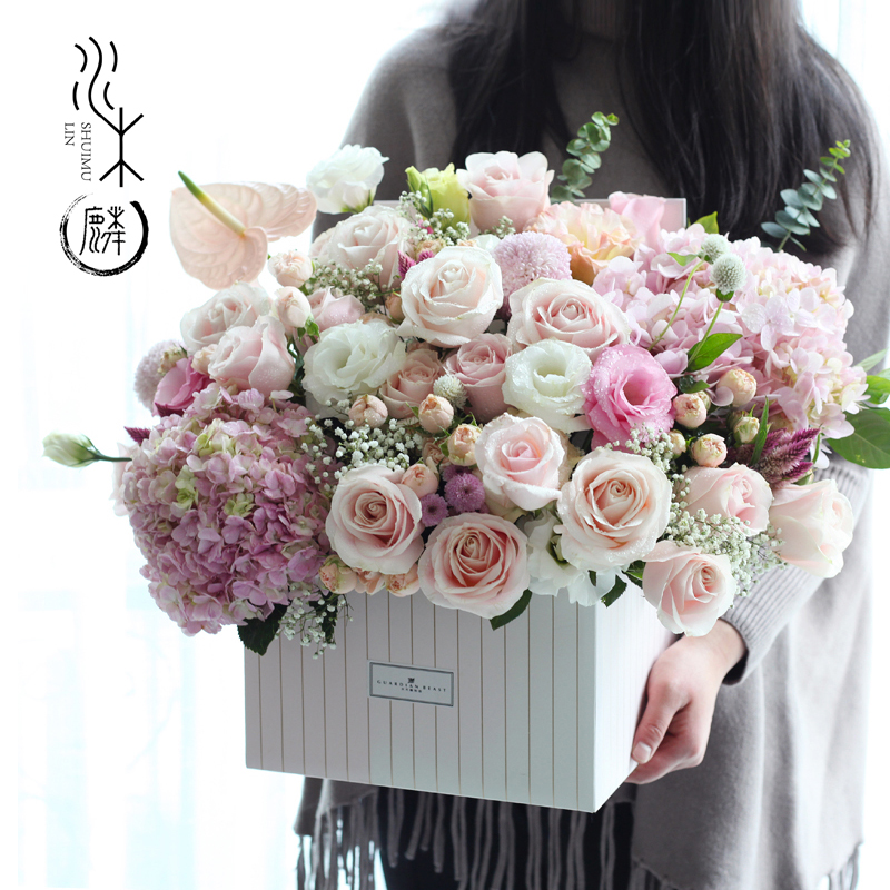Chengdu Flowers With The City Express Rose Hydrangea Birthday Gift Box To Send Girlfriend Mother Girl