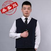Mùa thu và mùa đông mới 100% lụa chần vest vest nam dày ấm lụa cotton handmade bông quần áo