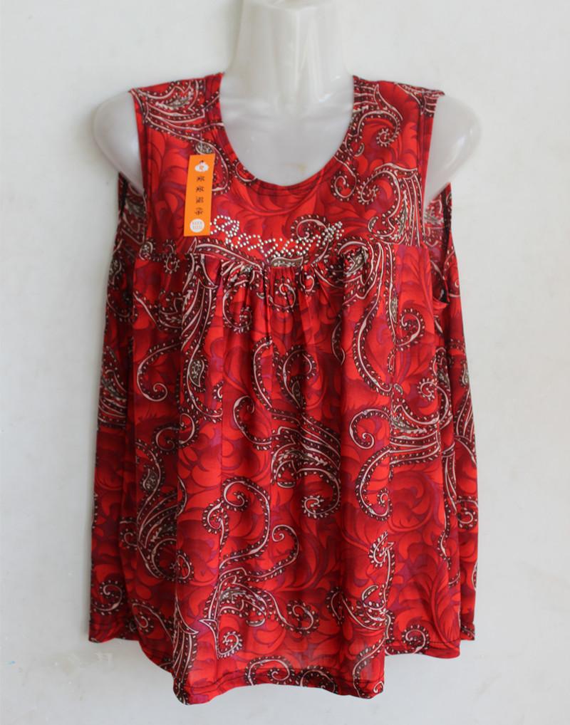 Phụ nữ trung niên mùa hè vest cộng với phân bón XL áo vest T-Shirt béo mẹ trung niên áo sơ mi