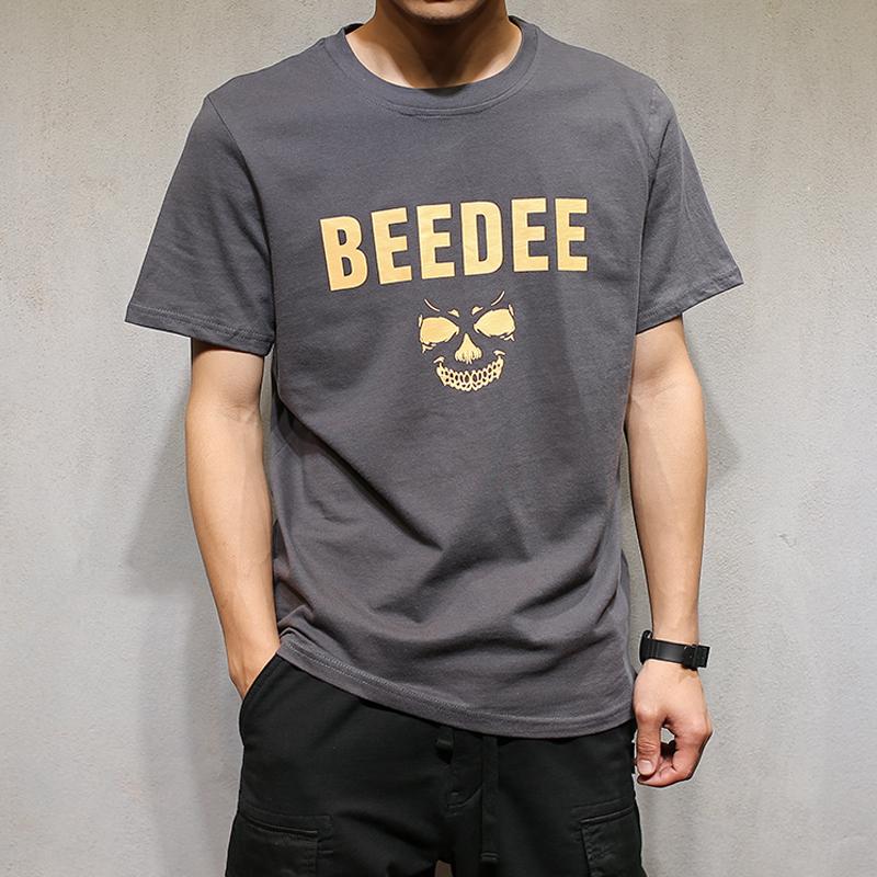 马切达夏季男士T恤日系复古休闲圆领打底衫韩版修身短袖体恤潮男
