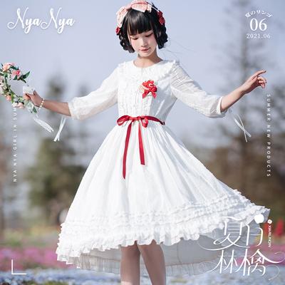 taobao agent 【Spot goods】NyaNya summer ringo lolita original solid color all-match waist sleeves two wear round neck OP