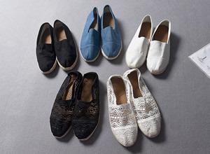 Xuất khẩu Nhật Bản sinh thái ban đầu dây khâu thoải mái thở lười biếng một bàn đạp giày vải mùa xuân và mùa hè giày của phụ nữ 0.34