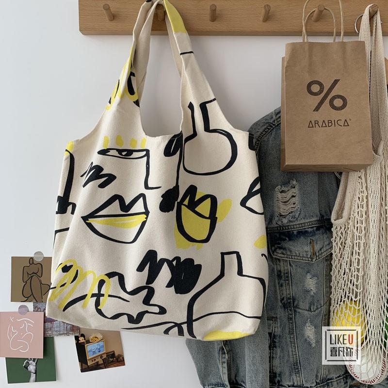 2020原创日系人物插画单肩包书包购物袋ins文艺简约大容量帆布包