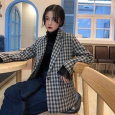 实拍~实价 新款韩版复古英伦风学院休闲百搭厚款格子小西装女西服