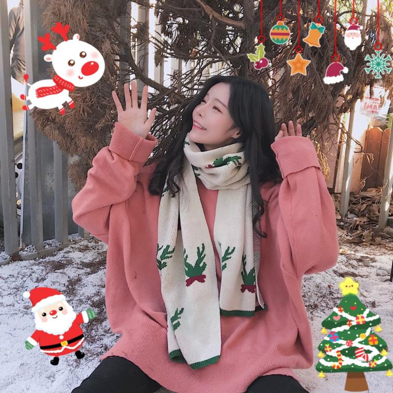 实拍A16#秋冬季保暖百搭日系披肩情侣男女软妹学生圣诞节礼物围巾