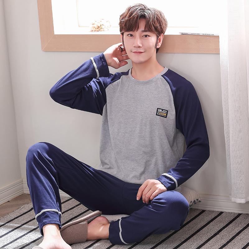 春秋季睡衣男士长袖纯棉薄款加大码卡通青少年学生全棉家居服套装