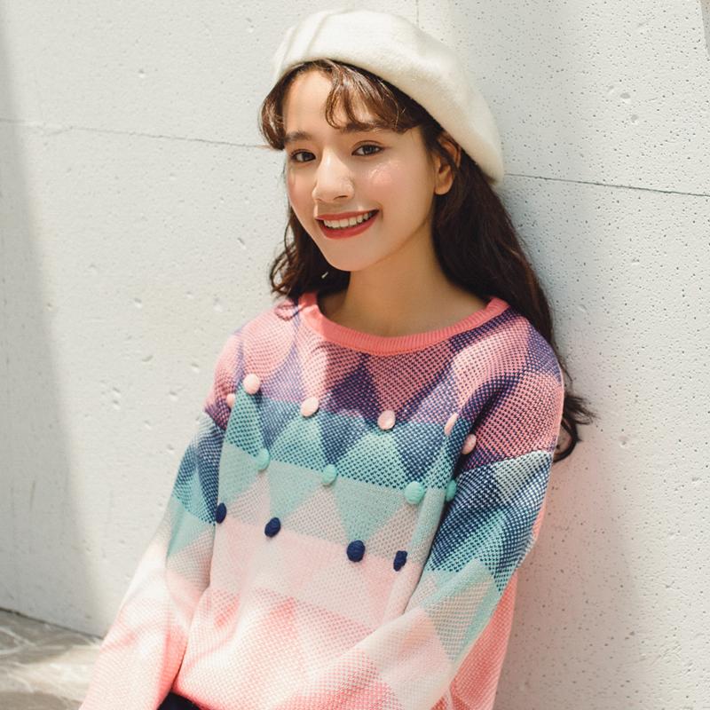 实拍 2018秋冬新款 糖果色 时尚 毛衣 针织衫 女 1003#