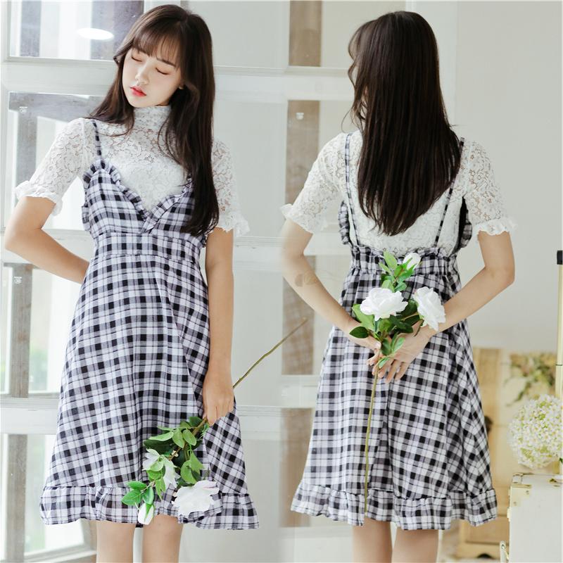 实拍 2018夏韩版吊带打底衫 两件套 格子连衣裙  8638