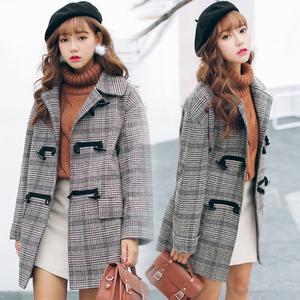 实拍 韩国宽松大版复古呢大衣格子毛呢外套 9027