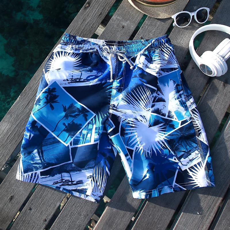 Bãi biển quần nam lỏng lẻo và nhanh chóng làm khô mùa hè bơi phẳng thân kỳ nghỉ bên bờ biển quần short đồ bơi năm quần có lót triều