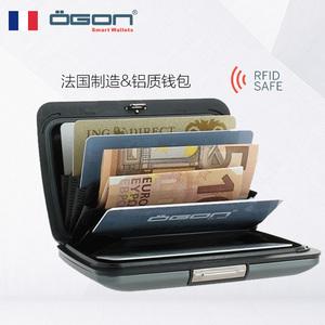 OGON Pháp Châu Âu thư mục nhôm ví người đàn ông thẻ gói thẻ không thấm nước chống-RFID nhập khẩu quà tặng doanh nghiệp ví kim loại