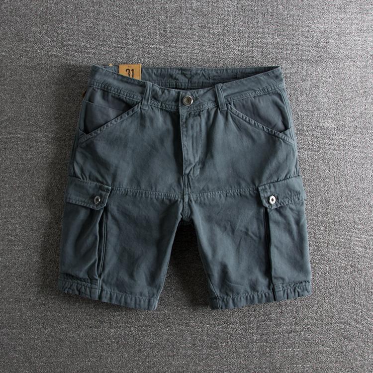 Mùa hè mới American cũ tay nghề đa túi quần dệt cotton nam quần short hoang dã quần âu