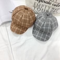 实拍冬季新款韩版复古英伦格子八角帽子加棉保暖厚毛呢鸭舌贝雷帽