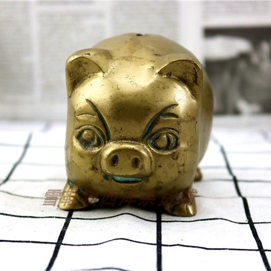 Đồng nguyên chất mỡ lợn hình con heo đất thứ hai tay phương Tây bộ sưu tập hàng cũ đồng cũ hàng hóa nước ngoài