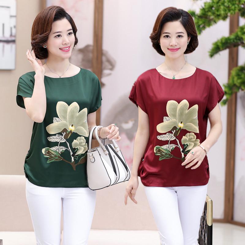 2018 mới mẹ váy mô phỏng lụa ngắn tay T-Shirt 40-65 tuổi mẹ chồng hai mảnh phụ nữ trung niên của mùa hè ăn mặc