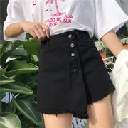Quần short denim phụ nữ cao eo mùa hè 2018 mới Hàn Quốc phiên bản của bất thường khâu chia một từ rộng chân quần váy quần