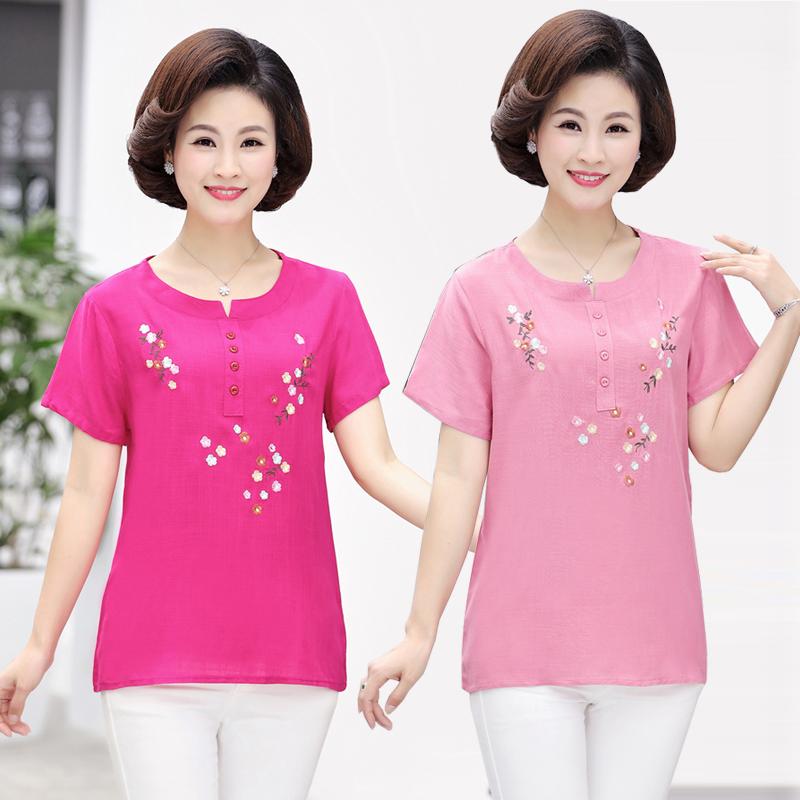 Phụ nữ trung niên của mùa hè áo sơ mi thêu ngắn tay cotton và linen T-Shirt kích thước lớn trung niên mẹ nạp lỏng kích thước lớn mới