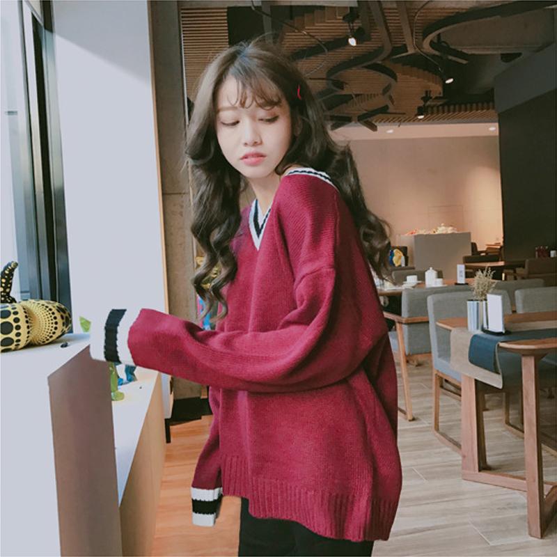 Hàn Quốc phiên bản ngọt ngào v-cổ màu sắc mùa thu và mùa đông áo len nữ sinh viên là áo len mỏng trùm đầu dài tay len
