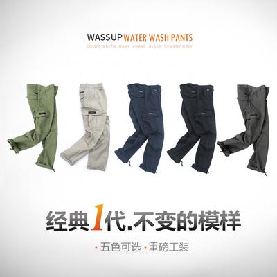 WASSUP bốn mùa rửa overalls quần tây giản dị lỏng thẳng đa túi cotton quân sự quần Quần làm việc