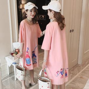 Mùa hè kích thước lớn bông phim hoạt hình t-shirt nửa tay áo triều Hàn Quốc phiên bản của lỏng đoạn dài màu hồng ngắn tay t-shirt váy nữ sinh viên