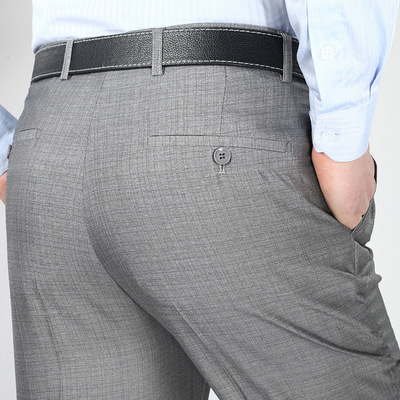 Mùa hè phần mỏng người đàn ông trung niên của quần đôi xếp li lỏng thẳng eo cao miễn phí hot người đàn ông kinh doanh của quần cha phù hợp với quần Suit phù hợp