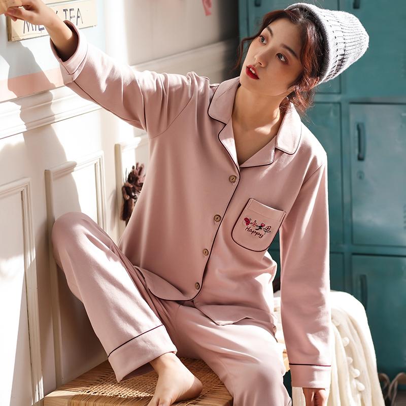春秋睡衣女纯棉长袖韩版中老年妈妈舒适可外穿加大码家居服套装冬