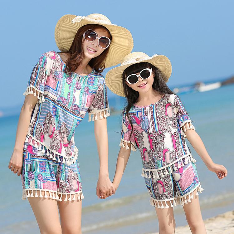 Bông lụa đồ ngủ nữ mùa hè ngắn tay quần short phù hợp với rayon cha mẹ và con đồ ngủ mẹ và con gái hai mảnh cotton lụa dịch vụ nhà