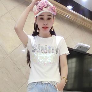 欧洲站2017春夏装新款亮片字母白色纯棉短袖t恤女修身半袖小衫潮