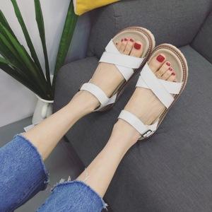 2018夏季新款厚底松糕凉鞋百搭学生罗马鞋简约休闲凉鞋X2-10